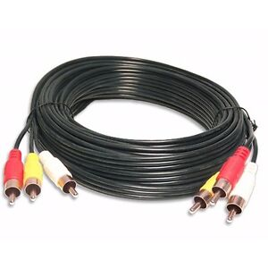 MALE-TRIPLE-3RCA-COMPOSITE-GOLD-DVD-to-TV-AUDIO-VIDEO-patch-CABLE-50FT-foot-cord