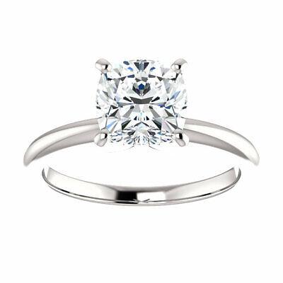 Charming 1.50 Ctw Cushion Cut Diamond Engagement Ring 18K White Gold H VS2 GIA 3