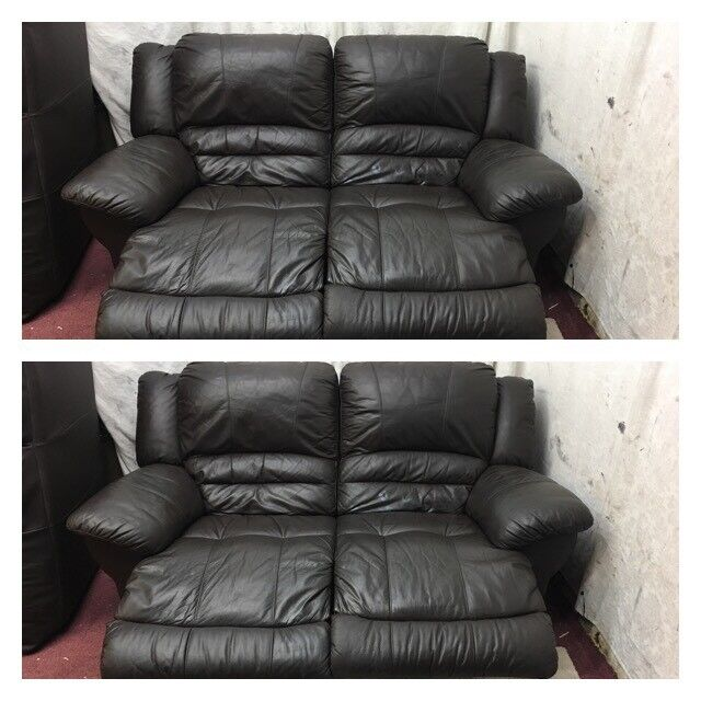 Brown leather 2/2 Seater manual recliner sofas