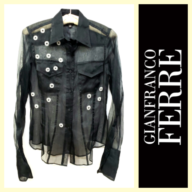 Gianfranco Ferre vintage beaded black sheer silk o
