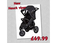 BRAND NEW HAUCK VIPER SPORTY ALL TERRAIN 3 WHEELER PRAM PUSHCHAIR BUGGY WITH RAIN COVER FROM BIRTH