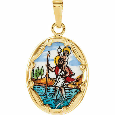 St. Christopher Hand-Painted Porcelain Medal In 14K Yellow Gold