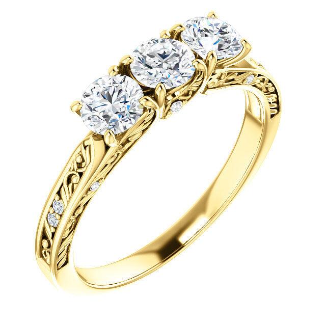 1.20 carat 3 Stone Round Diamond GIA E IF clarity Wedding Ring 14k Yellow Gold 1