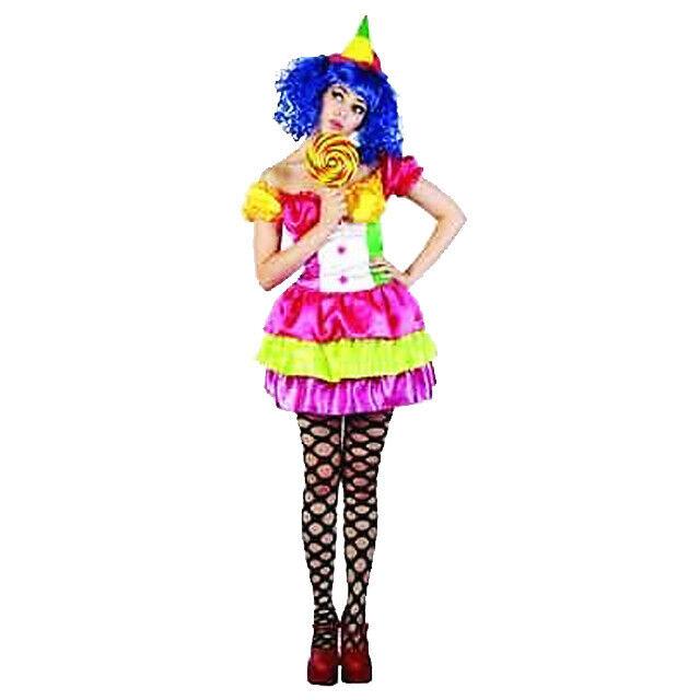 WH Ladies Costume Fancy Dress Cute Candy Girl Joker Clown Pop Star 8-10 12-14