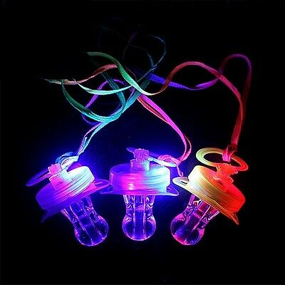 12 Pc Light Up Pacifiers LED Rave Party Glow Whistle Flashing Lanyard Party Wave](Led Light Up)