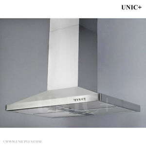 Chimney style/Tempered glass Stainless Steel Island Range Hood