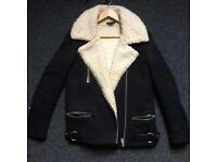 Topshop UK 8 Shearling Fur Thick Biker Buckle Jacket