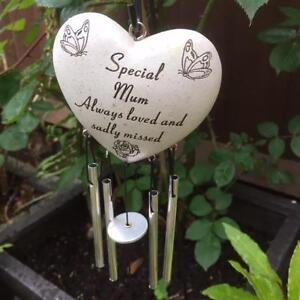 SPECIAL MUM HEART WIND CHIME Grave Memorial Funeral Tribute Graveside Garden