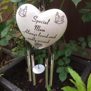 SPECIAL MUM HEART WIND CHIME Grave Memorial Funeral Tribute Graveside Garden