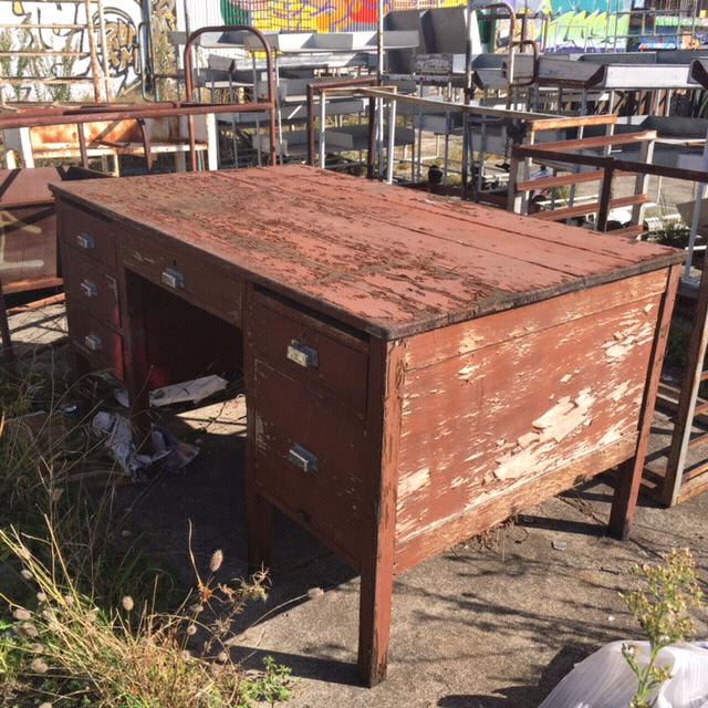 Vintage Pedestal Oak Desk