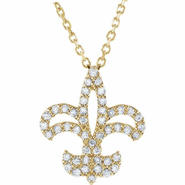 Beautiful Yellow gold 14K 14k Diamond-cut Polished Fleur de Lis Dangle Pendant