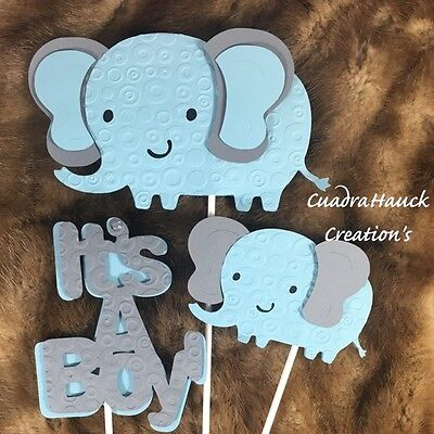 Elephant centerpieces stick/ Elephant light blue and Gray/ Elephant baby shower