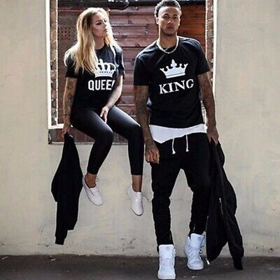 King Queen T Shirt Crown Wifey Hubby Girlfriend Boyfriend Couple Valentines Gift