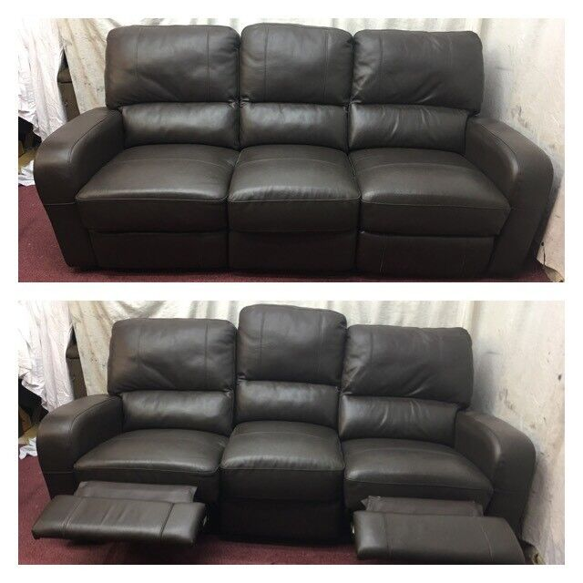 Brown leather 3 Seater manual recliner sofa