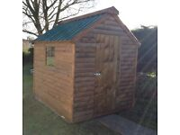 Brand New. 8ft x 6ft 19mm Log Board garden shed Now Only £420 delivered and set up