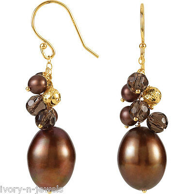 Freshwater Dyed Chocolate Cultured Pearl & Smoky Quartz Earrings 14K Solid Gold