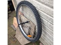 BICYCLE FRONT WHEEL (26 INCH) WITH NEW TYRE.