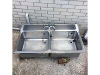 Large double bowl industrial sink for sale