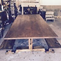 RUSTIC HARVEST TABLE WITH BENCHES **NEW**
