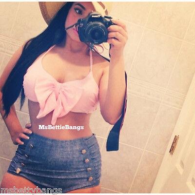 Sweet Retro Swimsuit High Waist Pink Denim Bikini PinUp NEW S/M/L/X/2X Plus Size