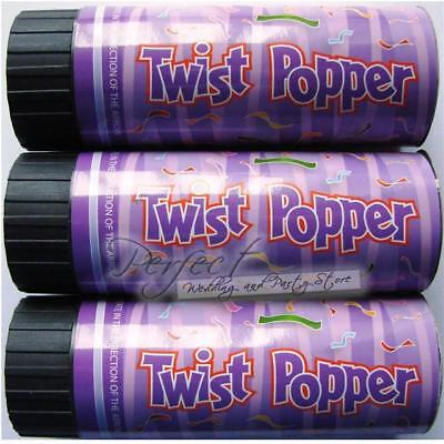 24 Birthday Party Confetti Cannon 11cm Poppers Twist To Eject Colourful Foils - Birthday Poppers