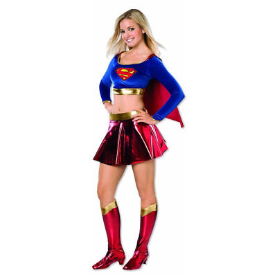 RUBIE'S SUPERMAN SUPERGIRL COSTUME SET TEEN YOUNG ADULT DRESS SIZE 2-6 NEW 19287