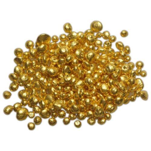 1/4 GRAM (0.25G) 24K .9999+ REFINED PURE GOLD GRAIN SHOT CASTING ROUND BULLION
