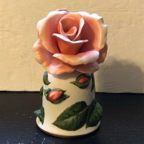 """Franklin Mint Porcelain Bell """"Dearest"""" Rose By Leslie Greenwood Hand Painted"""