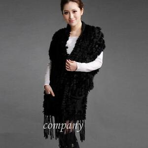 100% Real Knitted Rabbit Fur Scarf Shawl Cape Wrap Stole Poncho Sweater Coat