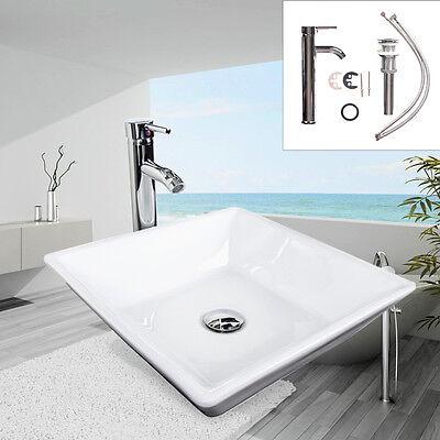 Square Bathroom Porcelain Ceramic Vessel Sink Bath Bowl Faucet Drain Set White