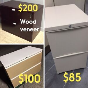 "FILE CABINETS FROM $85, ""U""-SHAPED WOOD DESK PACKAGES $350, USED"