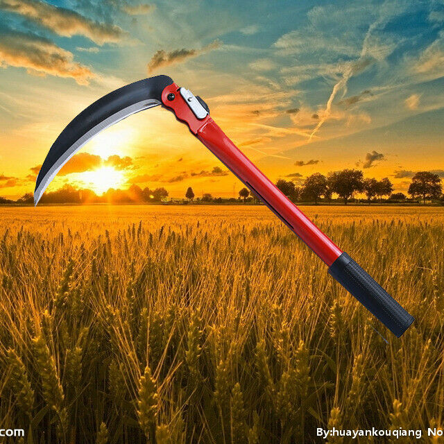 "16"" Folding Sickle Grass Cutter Remover Hand Scythe Blade Farm Yard Triming Tool"