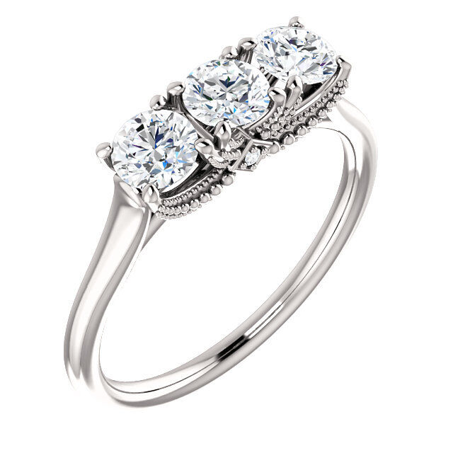 1.05 carat 3 Stone Round cut Diamond GIA G VVS2 Wedding Ring 14k White Gold 1