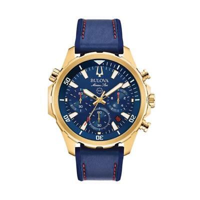 Bulova Men's 97B168 Marine Star Blue Dial Chronograph Leather Strap 43mm Watch