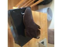 MENS MID BROWN side zip BOOTS