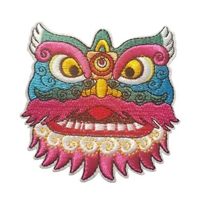Chinese Dragon Face (Colourful Dragon - Chinese Dragon Iron On Patch Sew on Transfer Dragon)