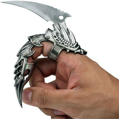 """5.5"""" IRON REAVER STAINLESS STEEL BLACKENED SILVER FINGER CLAW"""