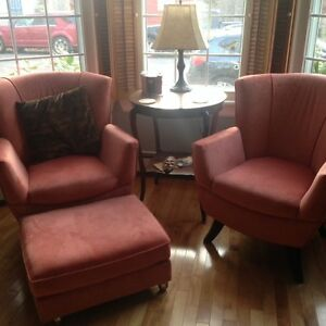 New plush matching easy chairs & ottoman