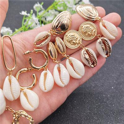 Women Charm Pearl Sea Shell Gold Pendant Statement Dangle Drop Earrings Jewelry