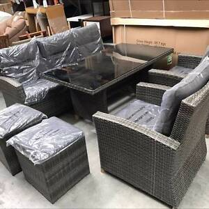Wicker Outdoor Dining Setting Table Chairs Stools Couch Lounge Campbellfield Hume Area Preview