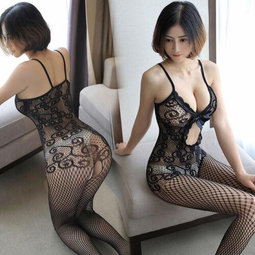 Women Sexy Lingerie Body Dress Babydoll Fishnet Bodysuit Thigh-high stockings