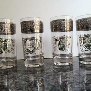 NEW PRICE - 8 SILVER WEDDING ANNIVERSARY GLASSES