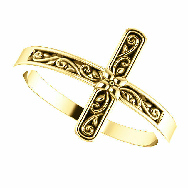14k Solid Yellow Gold Polished Sideways Cross Design Ring Size 5-8