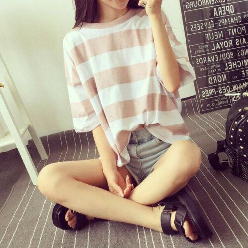 Korean Fashion Womens Short Sleeve Loose Blouse Casual Summer Tops 2XL