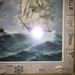 Nautical sailing ships print framed and under glass