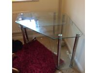 Glass office desk with shelves