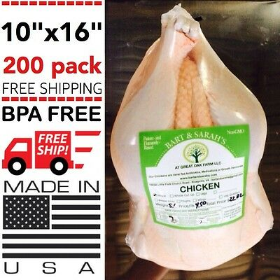 200 Poultry Shrink Bags 10 X 16 Chicken Food Processing Freezer Saver Heat