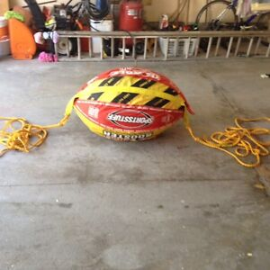 Towable booster ball, inflatable with ropes, like new!