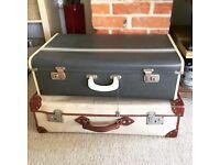 Two retro vintage suitcases