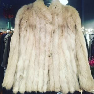 Vintage blue fox fur jacket coat
